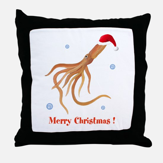 Personalized Christmas Squid Throw Pillow