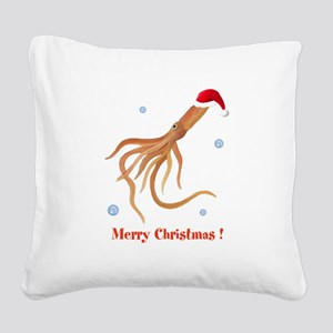 Personalized Christmas Squid Square Canvas Pillow
