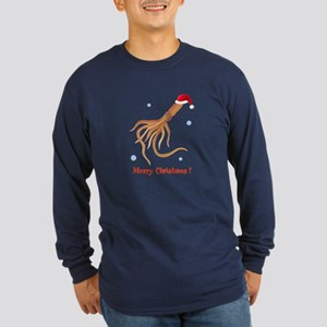 Personalized Christmas Squid Long Sleeve Dark T-Sh