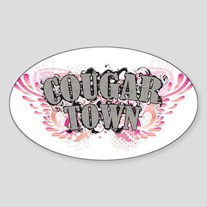 Cougar Town Blk Sticker (Oval)