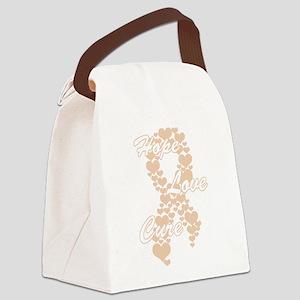 Peace Love Cure Yudu Peach Canvas Lunch Bag