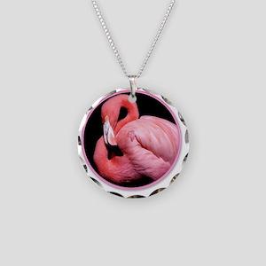 yule flamingo Necklace Circle Charm