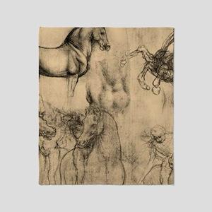 Leonardo da Vinci' Horse Throw Blanket