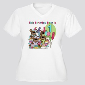 ZXBDAYBEAR1 Women's Plus Size V-Neck T-Shirt