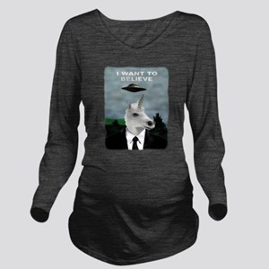 UFOs and Unicorns Long Sleeve Maternity T-Shirt
