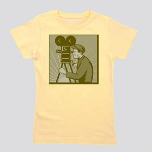 Vintage movie film camera and director Girl's Tee