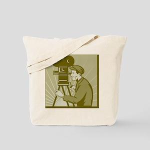 Vintage movie film camera and director Tote Bag