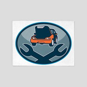 Automobile car repair mechanic with 5'x7'Area Rug