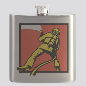 Fireman or firefighter with fire hose Flask