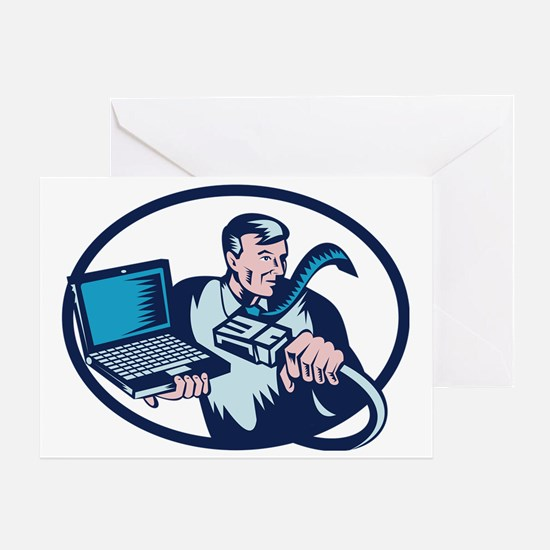 computer geek with laptop cable Greeting Card