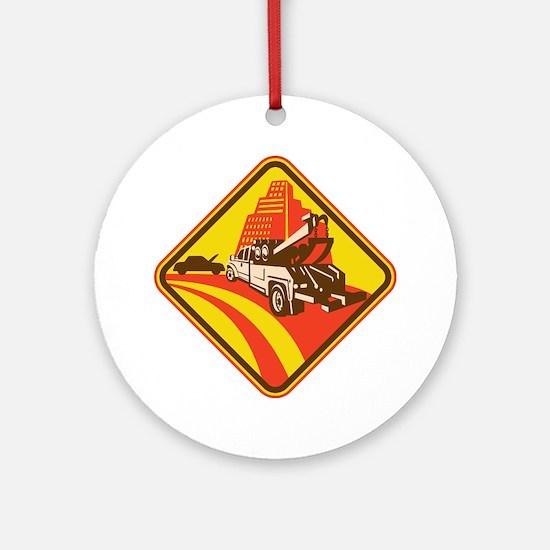 wrecker tow truck car Round Ornament