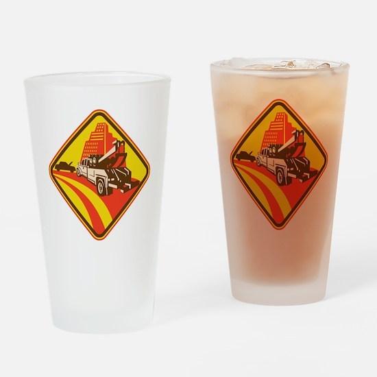 wrecker tow truck car Drinking Glass