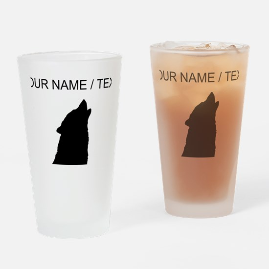 Custom Howling Wolf Silhouette Drinking Glass