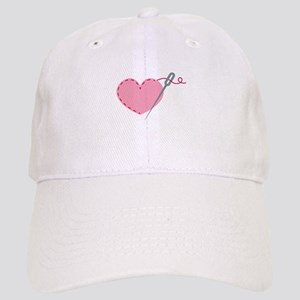 Cute sewing needle love heart Cap
