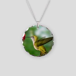 Hummingbird in flight Necklace Circle Charm