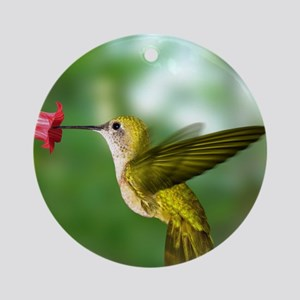 Hummingbird in flight Round Ornament
