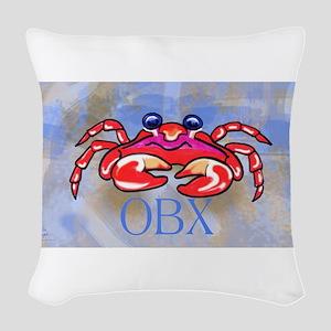 Crabby BLUE OBX Woven Throw Pillow
