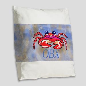 Crabby BLUE OBX Burlap Throw Pillow