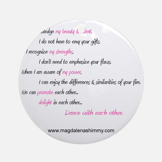 dance with each other text Round Ornament