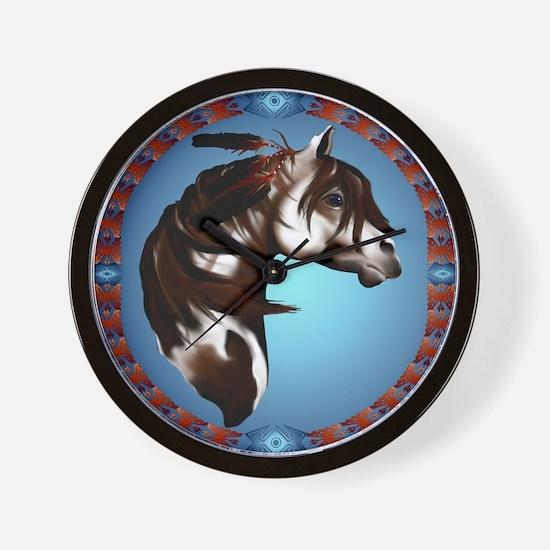 Feathered Paint Horse-Circle Wall Clock