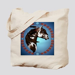 Feathered Paint Horse-Circle Tote Bag