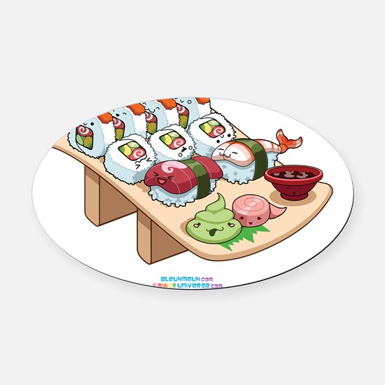 Kawaii-Cali-Sushi-Cafe-Trans Oval Car Magnet