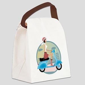 Vespa Girl Canvas Lunch Bag