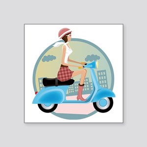 "Vespa Girl Square Sticker 3"" x 3"""