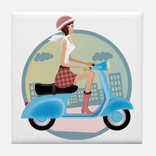 Vespa Girl Tile Coaster