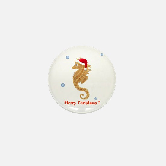 Personalized Christmas Seahorse Mini Button
