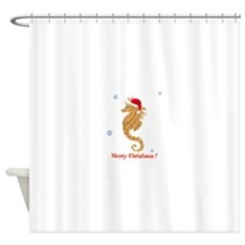 Personalized Christmas Seahorse Shower Curtain
