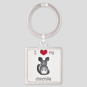 I Heart My Chinchilla Keychains