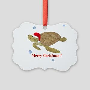 Personalized Christmas Sea Turtle Picture Ornament