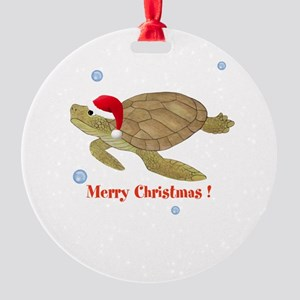 Personalized Christmas Sea Turtle Round Ornament