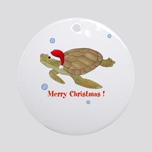 Personalized Christmas Sea Turtle Ornament (Round)