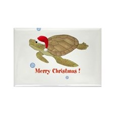 Personalized Christmas Sea Turtle Rectangle Magnet