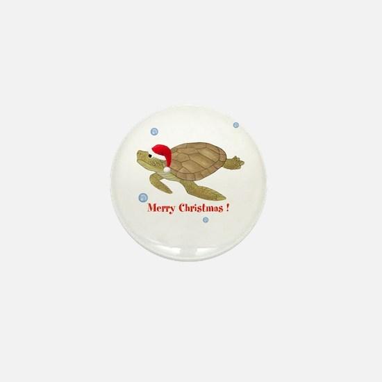 Personalized Christmas Sea Turtle Mini Button (10