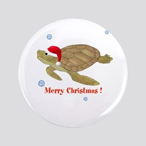 """Personalized Christmas Sea Turtle 3.5"""" Button"""