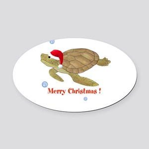 Personalized Christmas Sea Turtle Oval Car Magnet