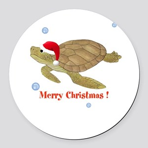 Personalized Christmas Sea Turtle Round Car Magnet