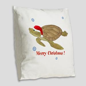 Personalized Christmas Sea Turtle Burlap Throw Pil