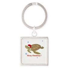 Personalized Christmas Sea Turtle Square Keychain