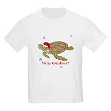 Personalized Christmas Sea Turtle Kids Light T-Shi