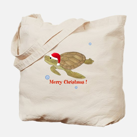 Personalized Christmas Sea Turtle Tote Bag