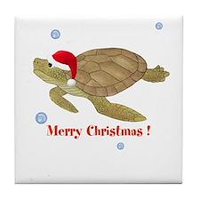 Personalized Christmas Sea Turtle Tile Coaster