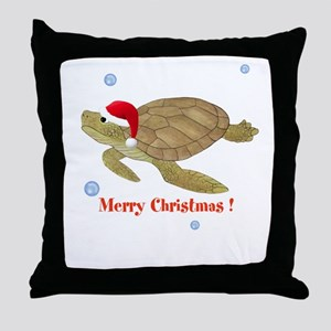 Personalized Christmas Sea Turtle Throw Pillow