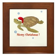 Personalized Christmas Sea Turtle Framed Tile