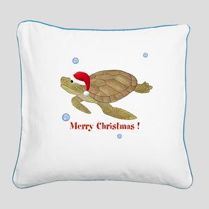Personalized Christmas Sea Turtle Square Canvas Pi