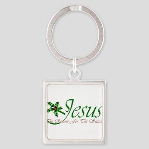 Jesus Reason For The Season Square Keychain