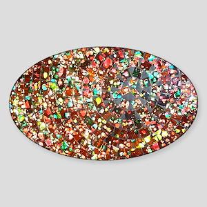 balinese glass tile art Sticker (Oval)